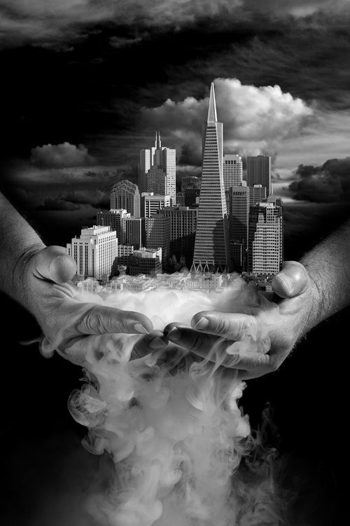 ♂ Dream ✚ Imagination ✚ Surrealism surreal art Black & white Holding the world in the palm of your hands