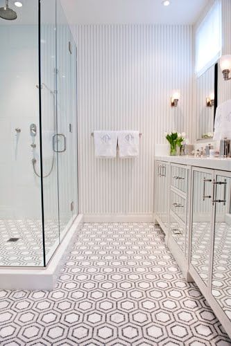 Mirrored cabinets, tiled floor and striped walls