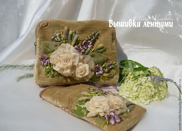 Купить Аурелия комплект: косметичка и чехол для телефона вышивка лентами - бежевый, цветочный, винтаж