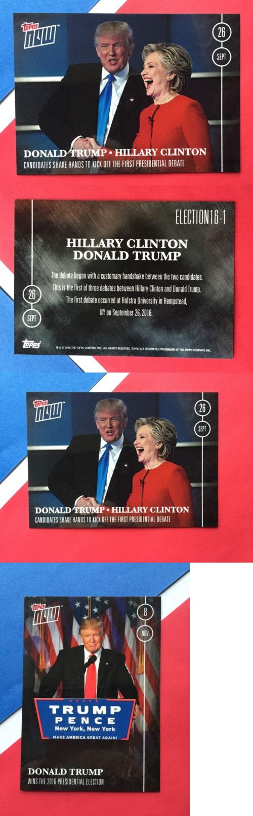 donald trump: Topps Now Donald Trump Hillary Clinton #16-1 2016 Election 45Th U.S. President BUY IT NOW ONLY: $14.99