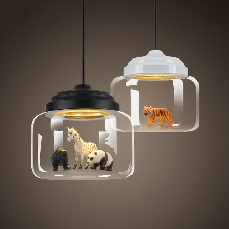 Nordic Glass Pendant Light Restaurant Bar Cafe Creative Animal Models Decorative Suspension Lamp Dining Room Child