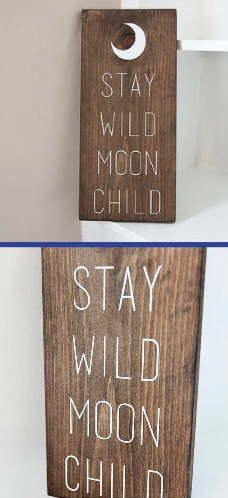 Stay Wild Moon Child Rustic Sign – Nursery Wall Art, Woodland Nursery Decor, Boho Nursery Decor, Hippie Sign, Moon Decor, Modern Nursery, Rustic Wood …