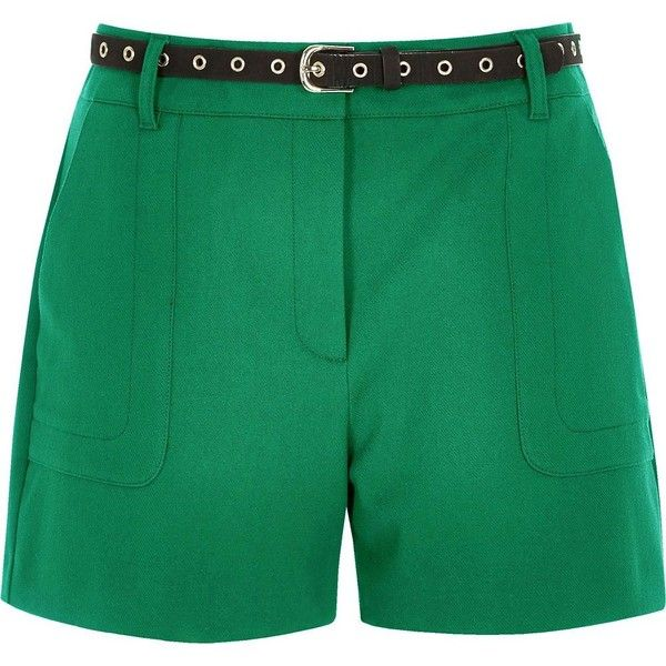 River Island Green high waisted shorts (83 AUD) ❤ liked on Polyvore featuring shorts, green, high waisted shorts, women, high-waisted shorts, river island, high rise shorts and highwaist shorts