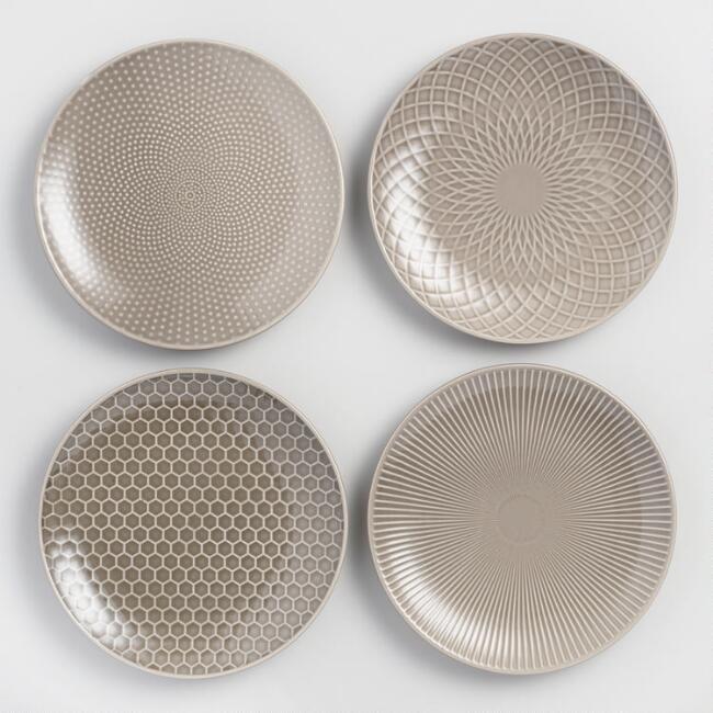 World Market Taupe Textured Stoneware Salad Plates Set of 4