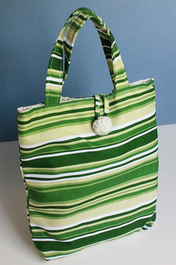 shopper bag green hadamade cotton