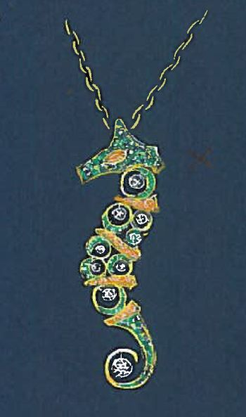 sketch, seahorse, necklace by ponte vecchio gioielli