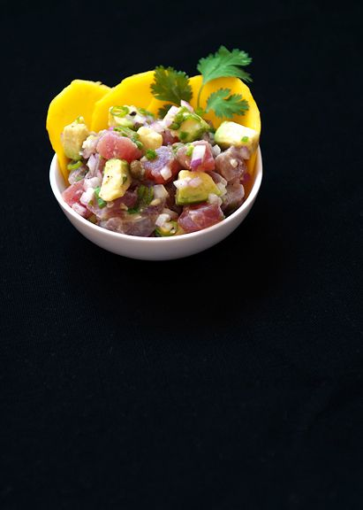 Maguro (Sashmi-grade Tuna) Ceviche. To die for. This basic and simple recipe can be used with all kinds of seafood for a classic ceviche. Then, you can experiment with variations, but this a classic blend.