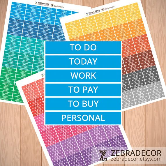 Printable Planner Stickers Set  To Do Today To pay от ZebraDecor