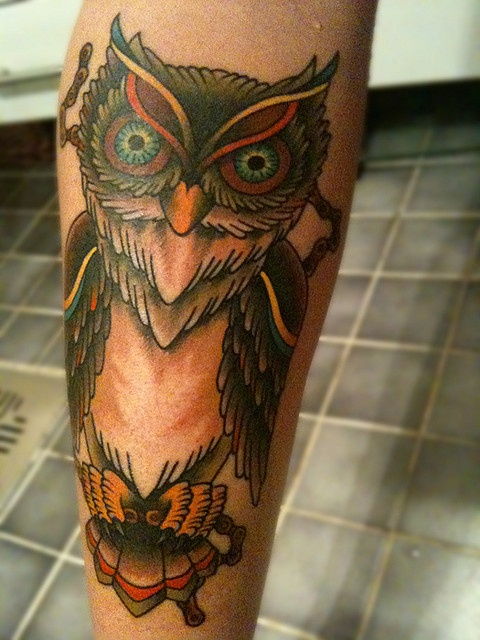 Owl tattoo with bicycle chain by mustaninja, via Flickr