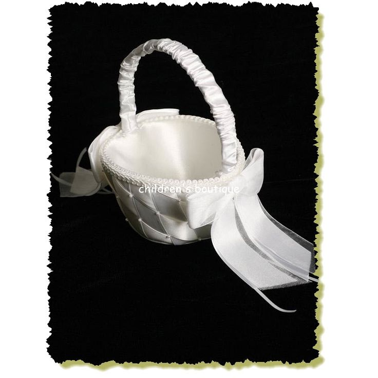 Flower Girl Basket:  Satin ribbon with small pearl accents flower basket. $17.99