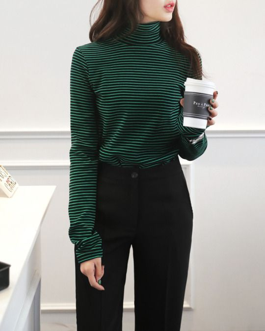 Striped Turtleneck Tee