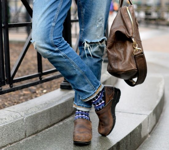 I have Dansko's and wear them with jeans and dresses/tights. I like the cute…