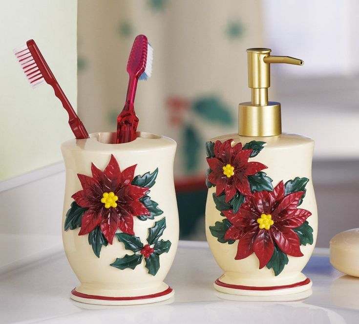 Poinsettia Christmas Bathroom Accessory Set By Collections Etc For $14.99  Http://yupurl.