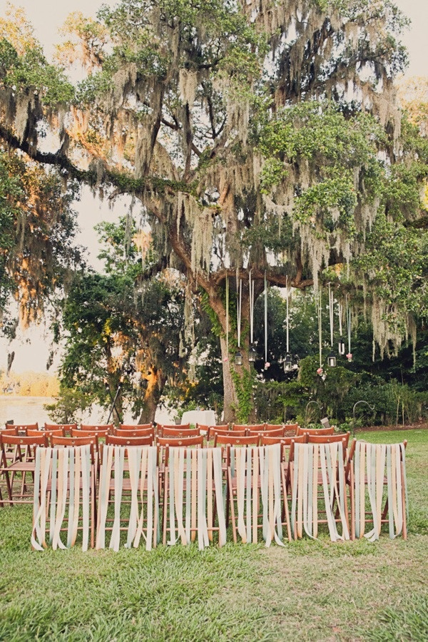 Wedding Reception inspiration: South Carolina Wedding, Ribbons, Trees, Outside Wedding, Gardens Wedding, Chairs Back, Style Me Pretty, Charleston South Carolina, Spanish Moss