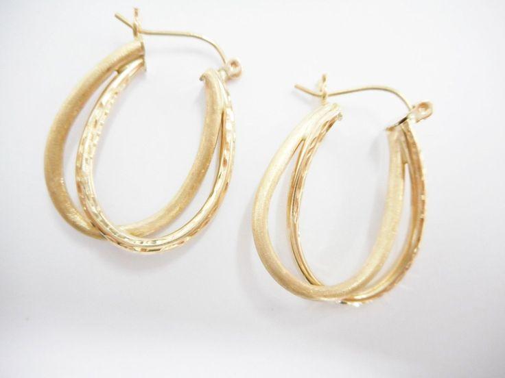 Gold Hoops, Hoop Earrings, Glast Blast, 10k Hoop Earrings, Textured Hoop Earrings, Gold Hoop Earrings, 10k Gold Hoops, #1957 by JessiesJewelryBoxTN on Etsy