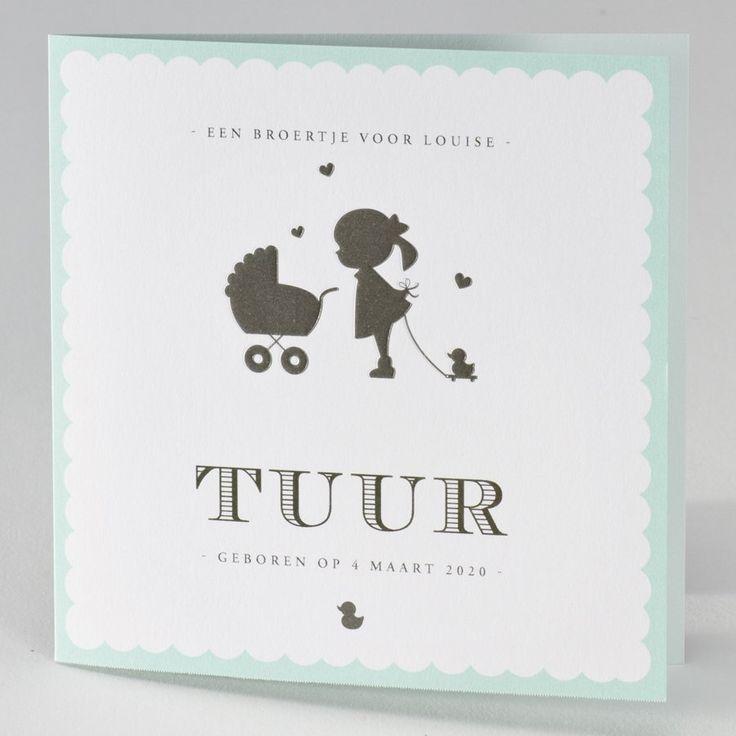 Een superleuk kaartje voor grote broer of zus. Dit geboortekaartje is afgewerkt met een preeg voor net dat tikkeltje extra. 12 x 12 cm.