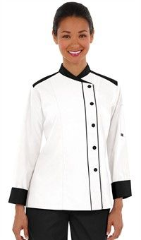 Women's Contrast Trim Long Sleeve Chef Coat - Snap Front Closure - 65/35 Poly/Cotton Fine Line Twill