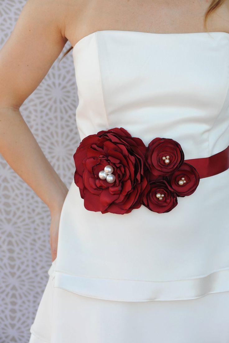 Handmade crystal bridal belt rhinestone pearl luxury wedding dress - Bridal Sash Wedding Dress Sash Bridal Belt Bordeaux Red Flowers Vintage Pearls
