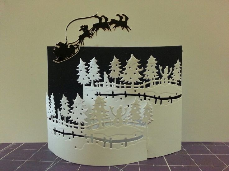 Winter Wonderland bendy card using Crafters Companion edge dies and Cricut for the Santa. Original design by Michelle Ertle.