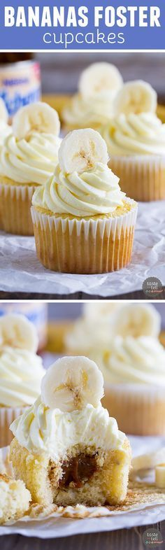 Banana cupcakes are filled with dulce de leche and topped with a rum buttercream in these delicious Bananas Foster Cupcakes. These are definitely a step up from your normal banana cupcake!: