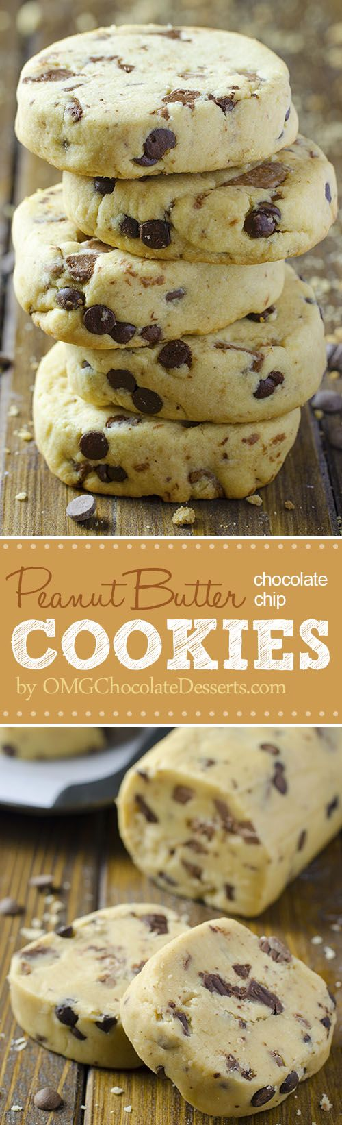 Chocolate Chip Shortbread Cookies with Peanut Butter