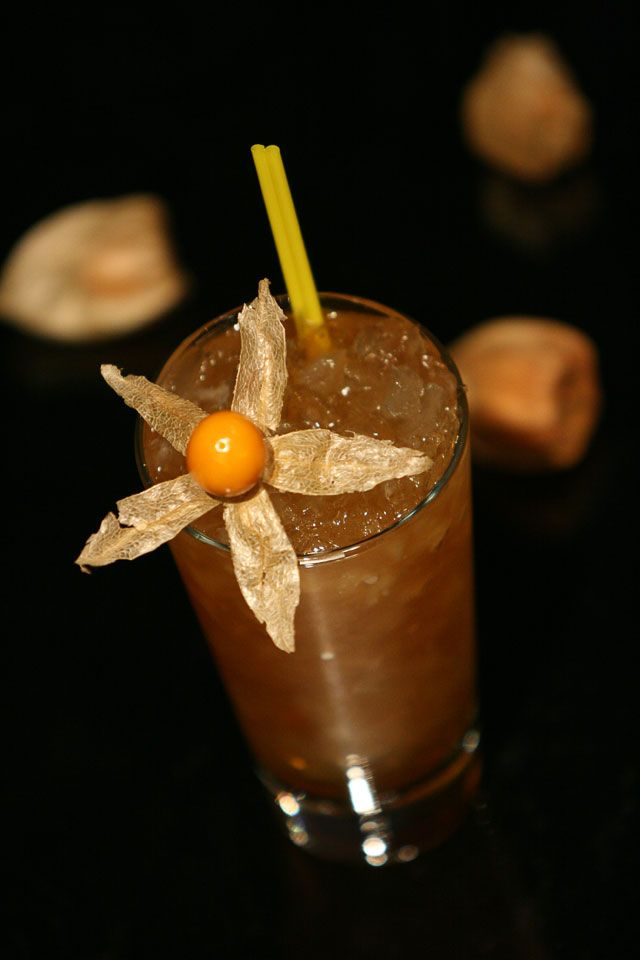 The English Cobbler Cocktail garnished with cape gooseberry