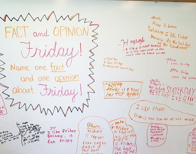 Fact and Opinion Friday was a success! #miss5thswhiteboard #teachersofinstagram #teachersfollowteachers #iteachthird