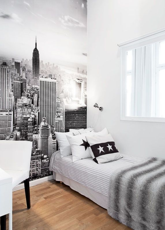 black and white city wall art