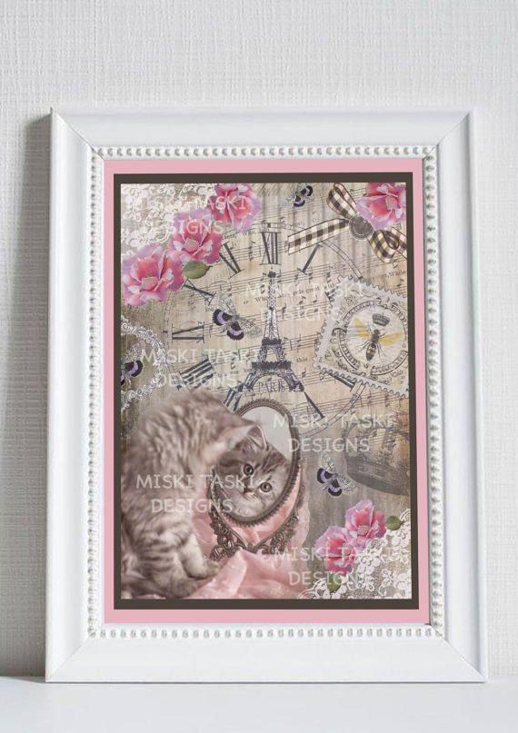 ROMANTIC CAT QUADRO A4   carta per quadro e di Miskitaski su Etsy