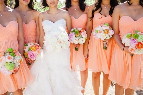 Peachy Light Orange Bridesmaid Dresses Wedding