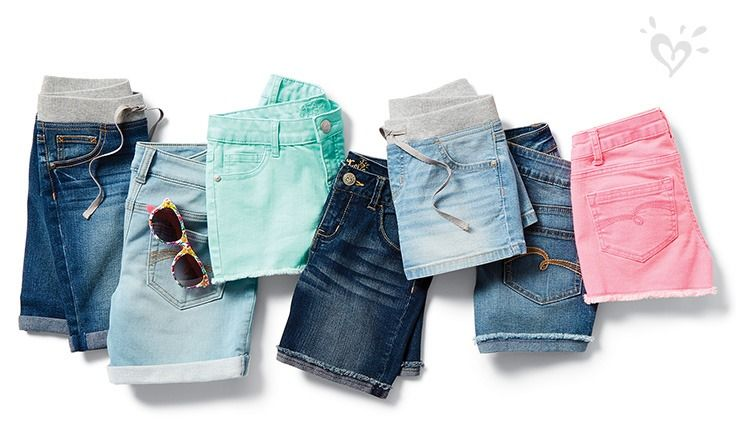 We've got denim shorts to  t her every style mood.