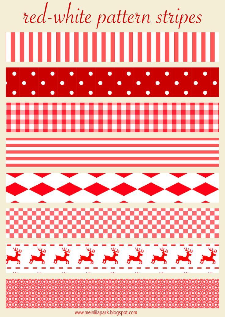Free printable red and white Christmas scrapbooking stripes - ausdruckbare Schmuckpapier - freebie   MeinLilaPark – DIY printables and downloads
