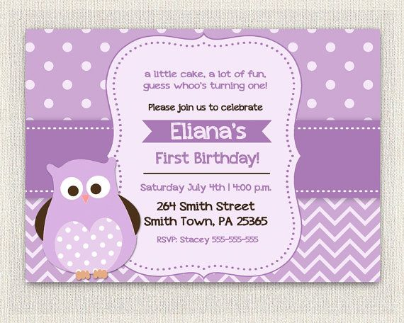Best Purple Birthday Invitations Images On Pinterest Purple - 1st birthday invitations girl purple