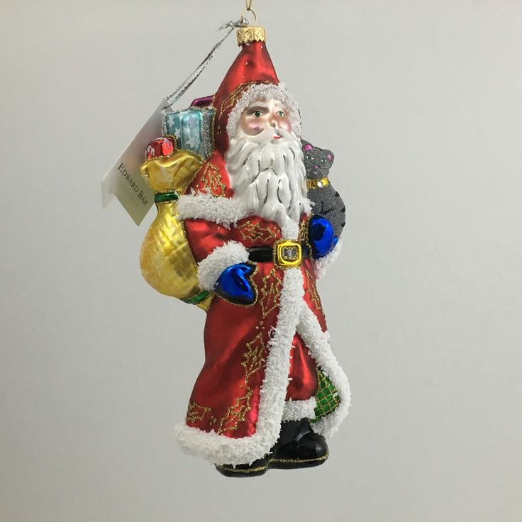 SANTA CLAUS WITH A CAT-Christmas ornament handmade in Art Studio-Edward Bar #EdwardBar