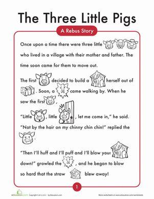 Kindergarten Comprehension Worksheets: The 3 Little Pigs Worksheet