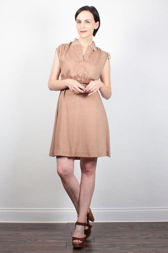 Vintage 70s Dress Tan Brown Mini Dress Eyelet Embroidery Collar Shirt Dress 1970s Dress Boho Simple Classic Day Dress Sundress XS S Small M by ShopTwitchVintage #1970s #70s #etsy #vintage #mini #dress #sundress