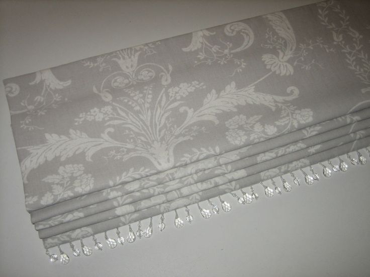 NEW Laura Ashley Josette Toile Dove Grey Linen Fabric Beaded Trim Roman Blind