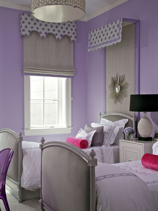 White And Purple Wall Color Themes With Double Beds Furniture In Teenage Girls Bedroom Design Ideas