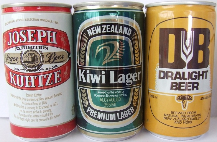 1987 Dominion Breweries Beer Cans - First Aluminium Cans - New Zealand    Here are the very first aluminium cans to be made in NZ . We were about a decade behind some countries but we got there in the end . Most brands of beer and soft drink were eventually issued in Aluminium cans by about 1990 .