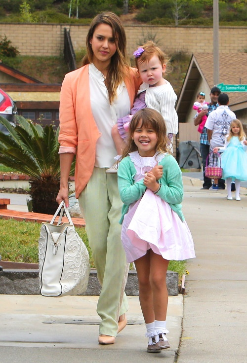Jessica Alba and family are colorful chic on Easter Sunday
