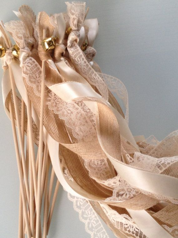 50 Triple Ribbon Wedding Wands Lace and Burlap Jute Ribbon Bells Streamers Birthday Party Gold Silver. $76.00, via Etsy.