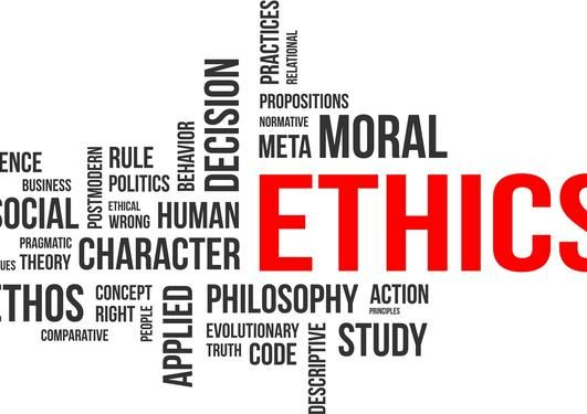 Word cloud with the word ethics in focus. Related words to ethics completes the…