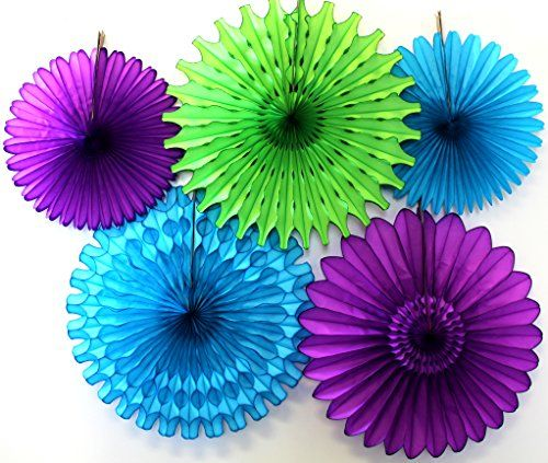 Turquoise, lime, and purple tissue paper fans on Amazon