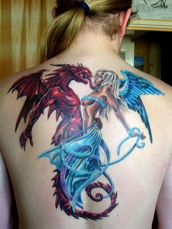 Entwined angel and demon back tattoo