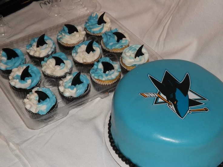San Jose Sharks Cake And Matching Cupcakes By Carrie S Cakery