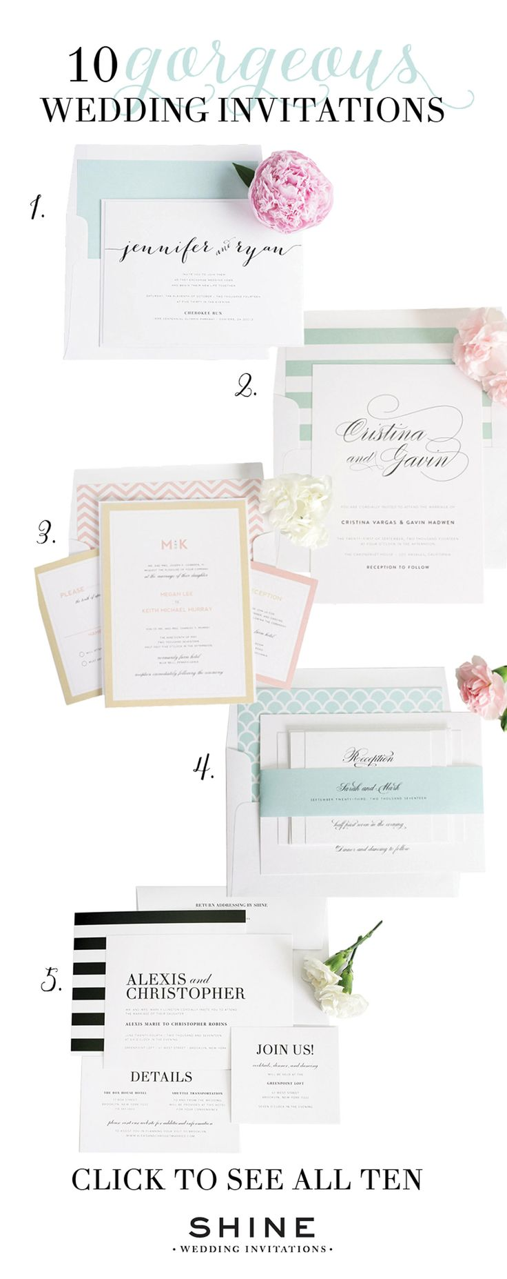 Looking for the perfect wedding invite? We complied a list of our Top 10 most popular wedding invitations! | Shine Wedding Invitations