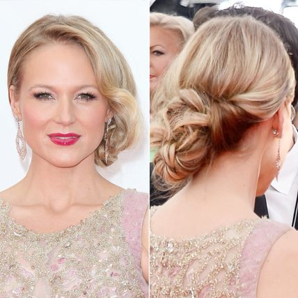Soft waves added a touch of Old Hollywood glam to the singer's low, side-parted chignon.