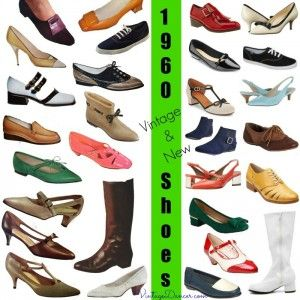 1960s Shoes styles. Vintage shoes (l) new 1960s style shoe s(r). Learn and shop at VintageDancer.com
