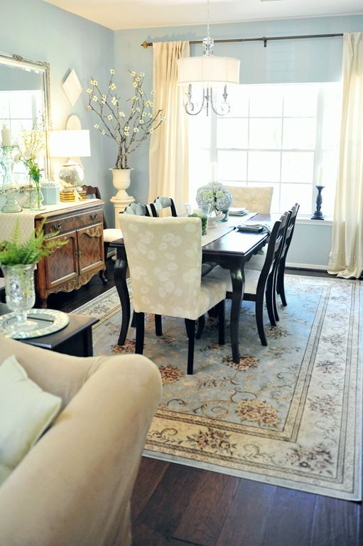 Benjamin Moore Wedgewood Gray Paint In Formal Dining Room