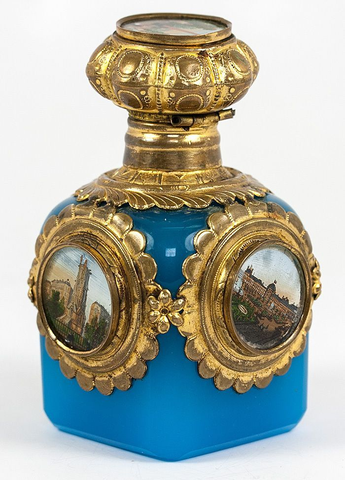 french perfume bottles | Superb Antique Blue Opaline French Perfume, Cologne Bottle, 5 Eglomise ...